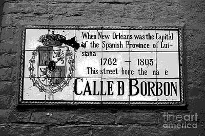 Bourbon Street Photograph - Bourbon Street Historic Plaque French Quarter New Orleans Black And White Cutout Digital Art by Shawn O'Brien