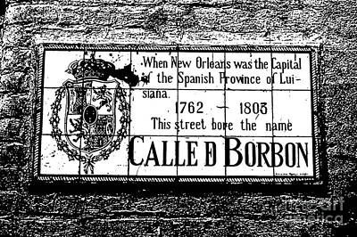 French Quarter Digital Art - Bourbon Street Historic Plaque French Quarter New Orleans Black And White Stamp Digital Art by Shawn O'Brien