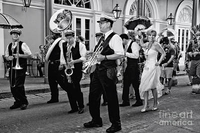 Photograph - Bourbon Street Second Line Wedding New Orleans In Black And White by Kathleen K Parker