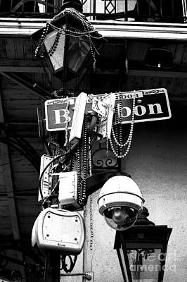 Digital Art - Bourbon Street Sign And Lamp Covered In Beads Black And White Ink Outlines Digital Art by Shawn O'Brien