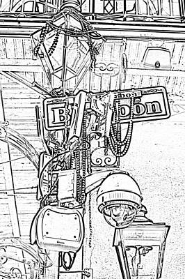 Bourbon Street Sign And Lamp Covered In Beads Black And White Photocopy Digital Art Art Print by Shawn O'Brien