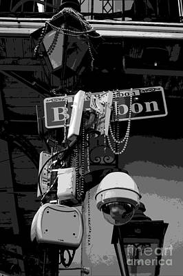Digital Art - Bourbon Street Sign And Lamp Covered In Beads Clack And White Cutout Digital Art by Shawn O'Brien