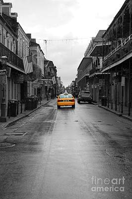 Photograph - Bourbon Street Taxi Cab French Quarter New Orleans Color Splash Black And White by Shawn O'Brien