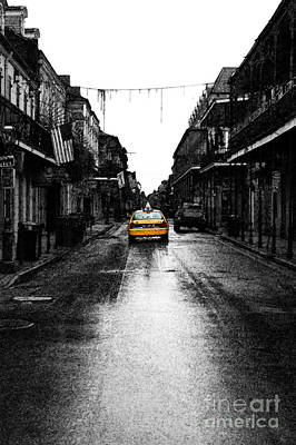 Big Easy Digital Art - Bourbon Street Taxi French Quarter New Orleans Color Splash Black And White Fresco Digital Art by Shawn O'Brien