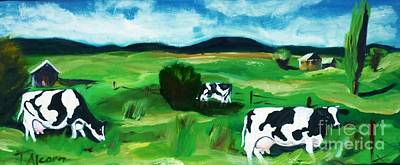Art Print featuring the painting Bovine Bliss by Therese Alcorn