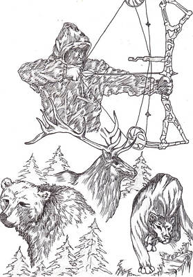 State Of Montana Drawing - Bow Hunter by Audrey Snead