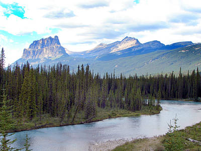 Mixed Media - Bow River By Castle Mountain by Bruce Ritchie