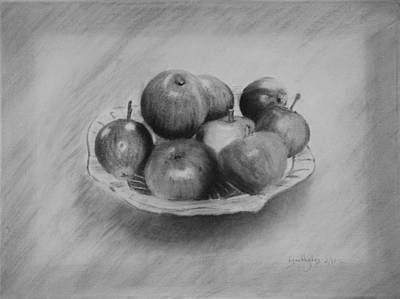 Print featuring the drawing Bowl Of Apples by Lynn Hughes