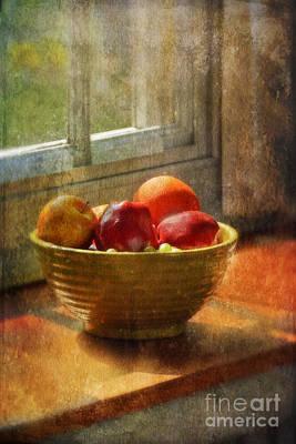 Bowl Of Fruit On Window Sill Art Print by Jill Battaglia