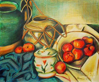 Bowl Of Peaches Art Print by Joe McGinnis