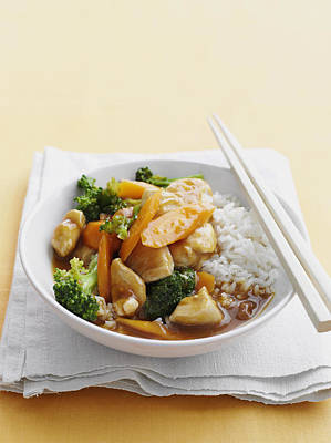Sour Photograph - Bowl Of Sweet And Sour Chicken With Rice by Cultura/BRETT STEVENS