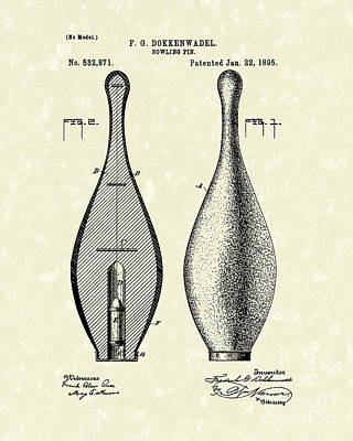 Drawing - Bowling Pin 1895 Patent Art by Prior Art Design