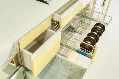 Bowls And Dish In Cupboard. Cupboard Print by Lawren Lu
