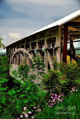Covered Bridge Digital Art - Bowser's Covered Bridge In May by Lois Bryan