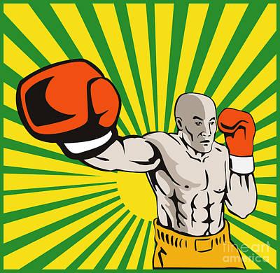 Knockout Digital Art - Boxer Boxing Jabbing Front by Aloysius Patrimonio