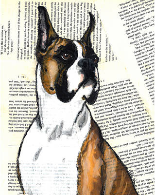 Boxer Headshot Flashy Fawn Original by Christas Designs