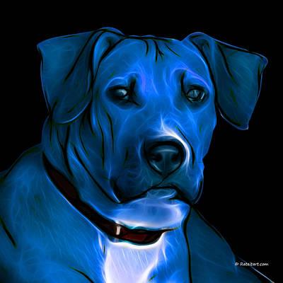 Boxer Pitbull Mix Pop Art-blue Art Print by James Ahn