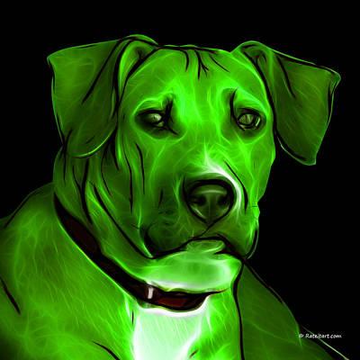 Boxer Dog Digital Art - Boxer Pitbull Mix Pop Art - Green by James Ahn