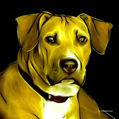 Boxer Pitbull Mix Pop Art - Yellow Art Print by James Ahn