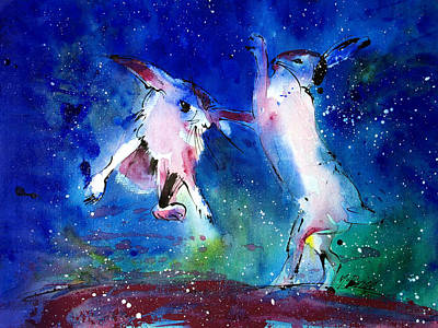 British Painting - Boxing Hares by Neil McBride