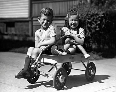 Boy & Girl On Wagon Art Print by George Marks