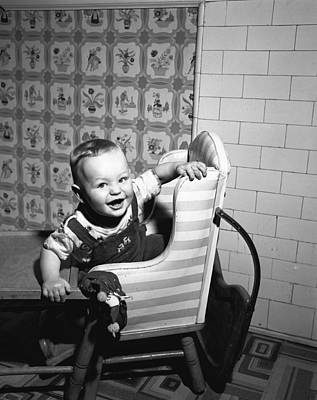 Boy (2-3) Sitting In High Chair,  (b&w), Portrait Art Print
