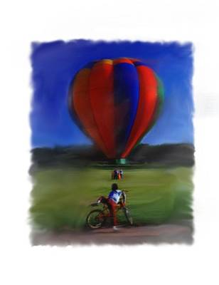 Digital Art - Boy  And Balloon by Mary M Collins