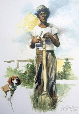 Boy And Dog Art Print by Gregory DeGroat