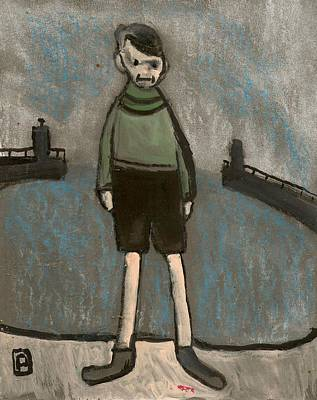 Folk Art Mixed Media - Boy And Harbour by Peter  McPartlin