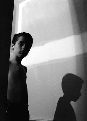 Photograph - Boy And Shadow True Bw by Katherine Huck Fernie Howard