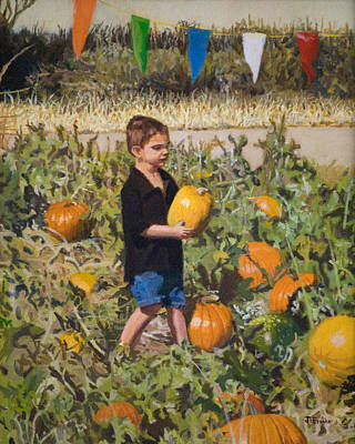 Painting - Boy At Pumpkin Festival by Joanna Franke