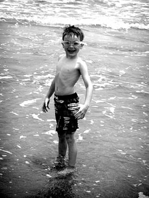 Art Print featuring the photograph Boy At The Ocean 2 by Kelly Hazel