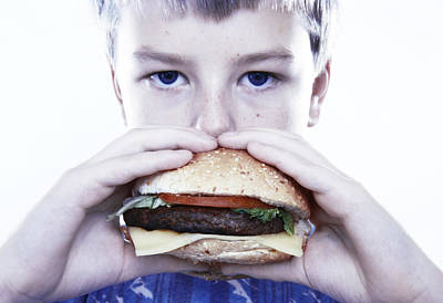 Boy Eating A Burger Print by Kevin Curtis
