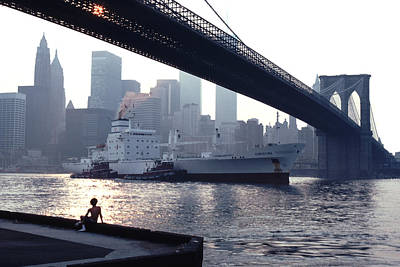 Unique Photograph - Boy Freighter Brooklyn Bridge Sunset by Tom Wurl