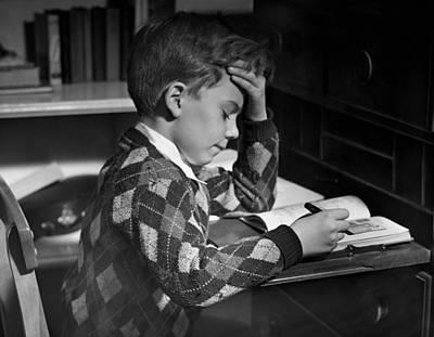 Boy In Classroom W/book Art Print by George Marks