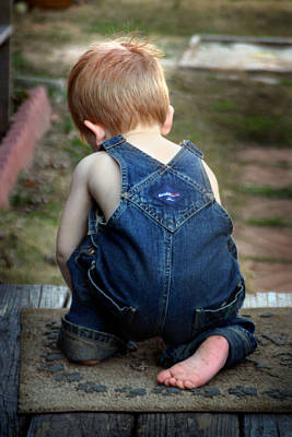 Art Print featuring the photograph Boy In Overalls by Kelly Hazel
