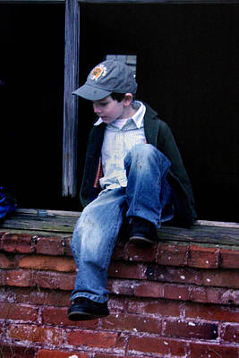 Photograph - Boy In Window by Kelly Hazel