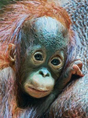 Orangutan Digital Art - Boy Of The Forest by Wade Aiken