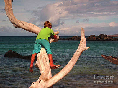 Photograph - Boy On Driftwood by Bette Phelan