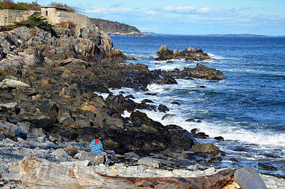 Art Print featuring the photograph Boy On Shore Rocky Coast Of Maine by Maureen E Ritter