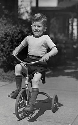 Boy On Tricycle Art Print by George Marks