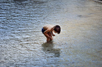 Boy Playing In The Pond Art Print