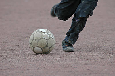 Photograph - Boy Playing Soccer With A Ball by Matthias Hauser