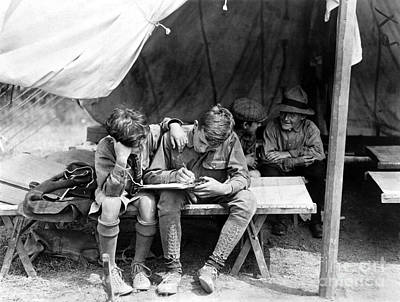 Photograph - Boy Scouts Writing Home by Granger