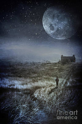 Photograph - Boy Standing In Field And Looking Up At The Night Sky  by Sandra Cunningham