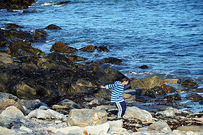 Art Print featuring the photograph Boy Throwing A Stone Maine Coast by Maureen E Ritter