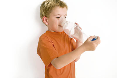 Spacers Photograph - Boy Using An Asthma Spacer by Ian Boddy