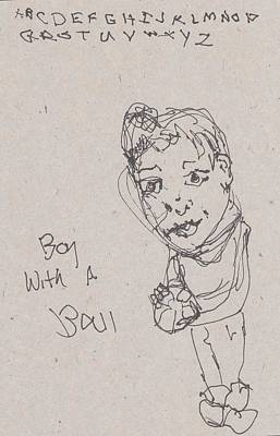 Primitive Drawing - Boy With Ball by Catherine Carr