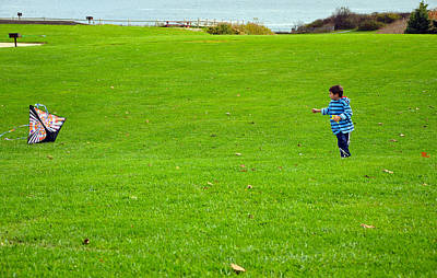 Art Print featuring the photograph Boy With His Kite Maine by Maureen E Ritter