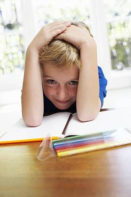 Boy With Pens And Exercise Book Art Print by Ian Boddy